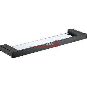 1403-300 BLK bella vista Chunky Glass Shelf 300 600mm Black