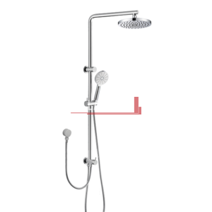 Dual Shower Rail with Rain Fall Head - Round