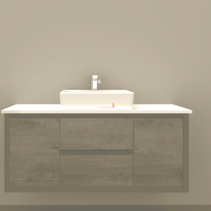 1500ST Clarissa Wall Hung Vanity 1500mm American Oak Stone Top Single Basin