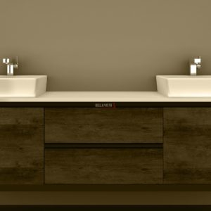 Clarissa Wall Hung Vanity 1800mm American Oak Stone Top Double Basin