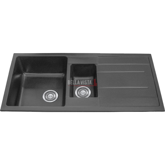 One and 1/4 Bowl Black Kitchen Sink with Drainer