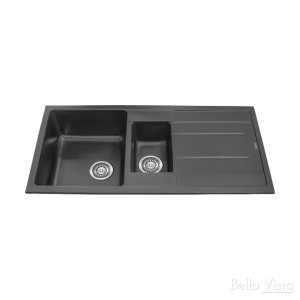 One and 1/4 Bowl Black Kitchen Sink with Drainer 1000 x 500mm