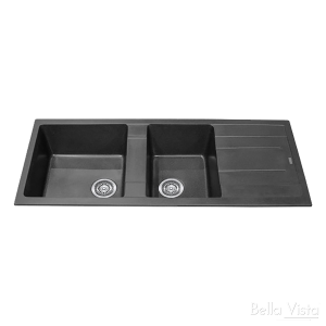1 and 1/4 Bowl Black Kitchen Sink with Drainer 1160 x 500mm