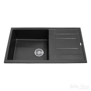 Single Bowl Black Kitchen Sink with Drainer 860 x 500mm