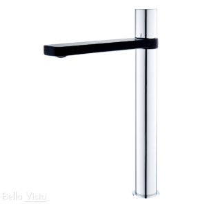 Zenon Series Tall Basin Mixer Chrome Plated with Black electroplated finish