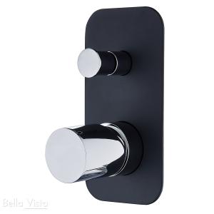 Shower / Bath Mixer with Diverter - 'Zenon Noir' - Black and Chrome