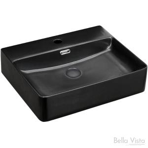 Riva Ceramic Basin - 504x420x130mm Matte Black