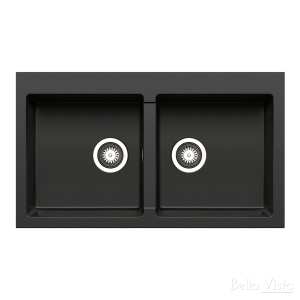 Pradus Double Bowl Black Kitchen Sink 860 x 500mm